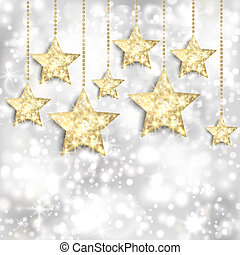 Silver background with gold stars and twinkly lights. EPS10