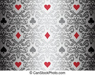 Silver background with poker symbols surrounded by floral ornament pattern