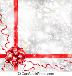 Silver background with red bow