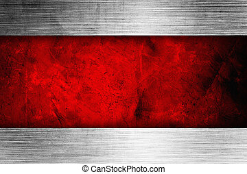 silver background with rich red ribbon