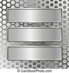 three plaques - silver background  with three plaques