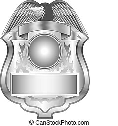 Silver Badge - Illustration of a silver shield badge.