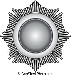 Illustration of a silver star burst badge.