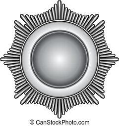 Silver Badge - Illustration of a silver star burst badge.