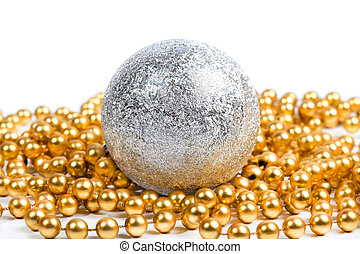 Silver ball with golden beads