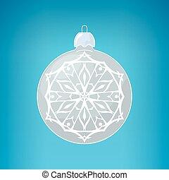 Silver Ball with Snowflake , Merry Christmas