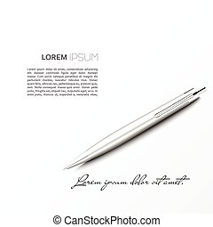 Silver Ballpoint Pen lying on the plane with shadow