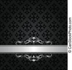 Silver banner on black floral seamless pattern. This image is a vector illustration.
