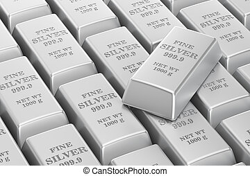 silver bars background, 3D rendering