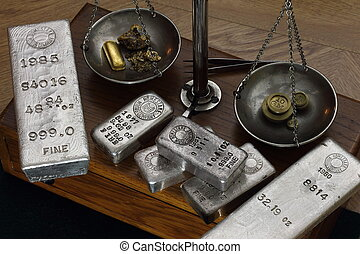 Silver Bars on Old Balance Scale