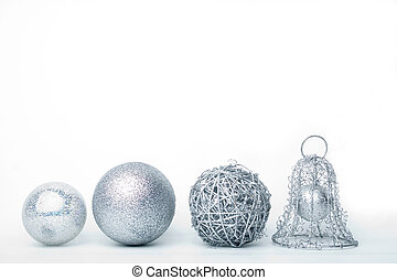 silver baubles - similar baubles isolated on white