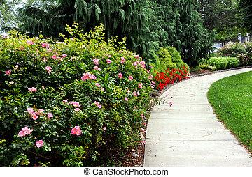Silver Beach Park in St. Joseph Michigan - Curving sidewalk...