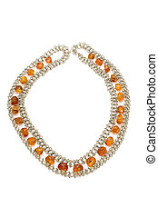 Silver beads with amber