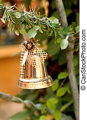 Silver bell on the Christmas tree.