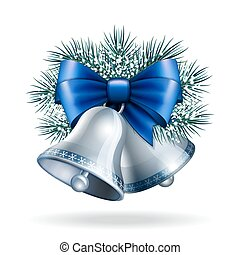 Silver bells with blue ribbon. - Silver bells with blue...