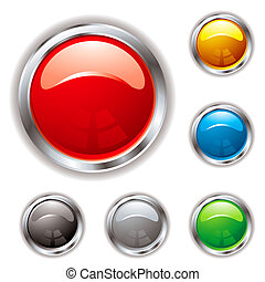 Gel filled button in six colour variations and silver bevel with shadow