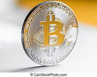 silver bitcoin close-up