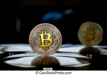 Cryptocurrency physical silver bitcoin coin with gold sign