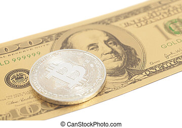Silver bitcoin with U.S. dollar isolated on white