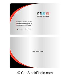 Silver black and red business card