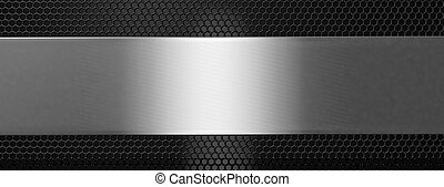 Silver black metal plate and grate, banner. 3d illustration...