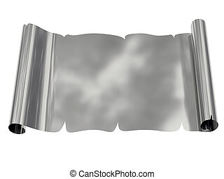 Silver blank sheet of paper with uneven edges