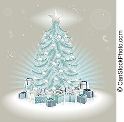 Silver blue Christmas tree, balls and gifts
