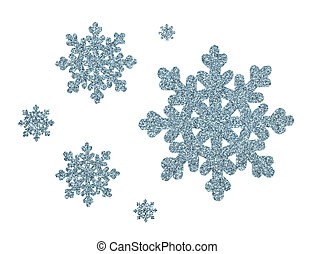 Silver blue glitter snowflakes for Christmas decoration