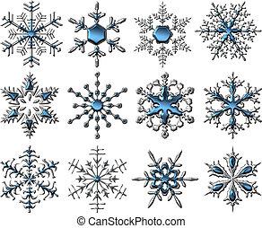 silver-blue, snowflakes