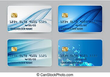 Silver Blue Wave Bank Card blank model template top view with shadow isolated on transparent backgroundcollection set. Vector Illustration