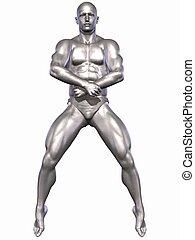 Silver Bodybuilder - 3D Render of an Silver Bodybuilder