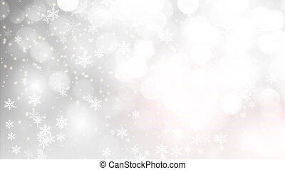 silver bokeh background with falling snowflakes - Silver...