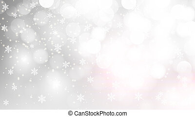 silver bokeh background with falling snowflakes