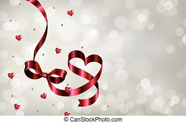 Silver bokeh background, with heart shape ribbons and pearl...