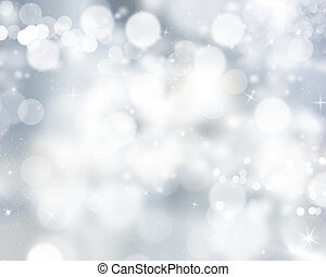 Glittery Christmas background with stars and bokeh lights