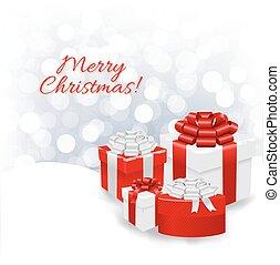 Silver Bokeh Xmas Wallpaper With Gift Box