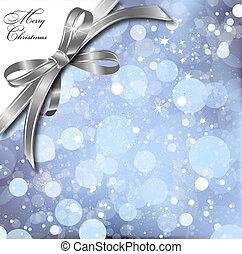 Silver bow on a magical Christmas card. Vector