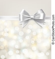 silver bow ribbon on blurry bokeh background. vector design template