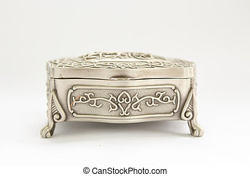 silver box on a white background