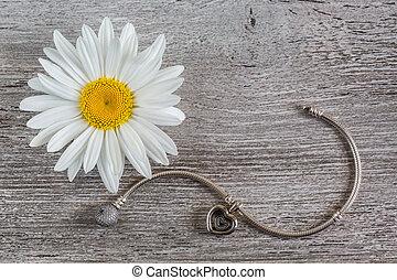 Silver bracelet and chamomile flower
