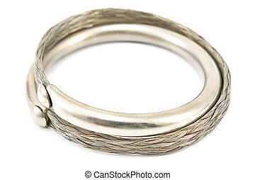 Silver bracelet isolated on white