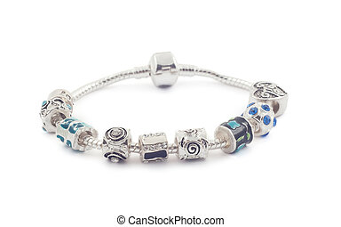 Silver bracelet with beads on white - Silver bracelet with...