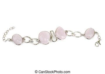 Silver bracelet with pink quartz and zirconium