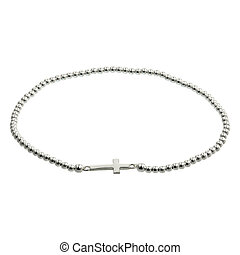 Silver bracelets on white
