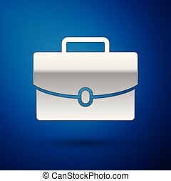 Silver Briefcase icon isolated on blue background. Business case sign. Business portfolio. Vector Illustration