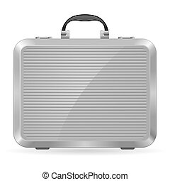 Silver briefcase. Illustration on white background for design