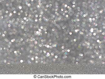 Silver bright blur glitter background