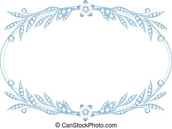 Silver frame with brooch jewelry on white background