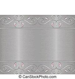 Silver brushed metal blank