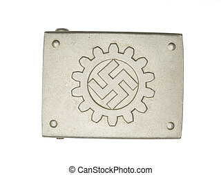 silver buckle with swastika sign - Close-up shot of a German...